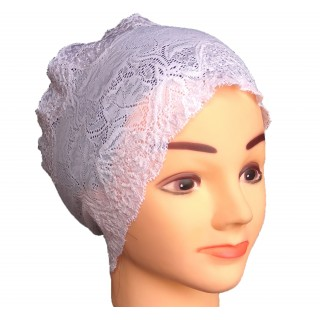 Cotton Lace Hijab Head Band – White