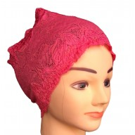 Cotton Lace Hijab Head Band – Red