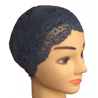 Hijab underscarf band- cotton Lace in dark grey