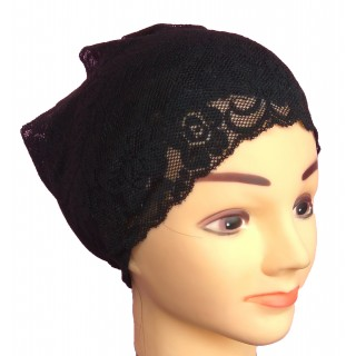 Hijab head band- cotton lace in black