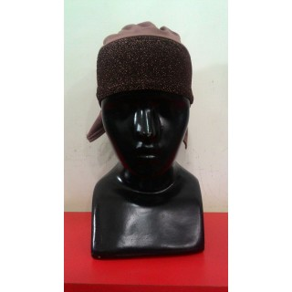 Glitter Hijab Bonnet Cap-Brown