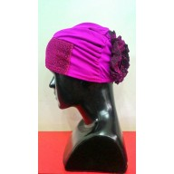 Glitter Hijab Bonnet Cap with back Design-pink