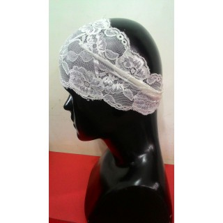 Lace Hijab Band-White