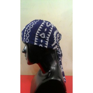Tie back Bonnet-Blue-White-Print