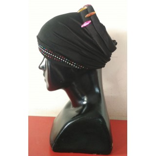 Cotton Hijab Bonnet Cap-Black