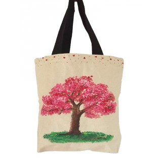 Canvas painted ladies tote bag- Big Tree
