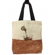 Ladies tote bag- Canvas painted Cream & Brown colored