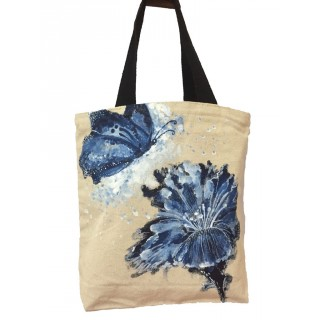 Canvas painted ladies tote bag- Flower