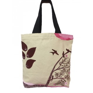 Canvas painted ladies tote bag- Maroon