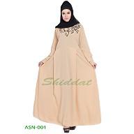 Flared abaya with embroidery work- Cream