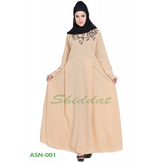 Flared abaya with embroidery work- Cream