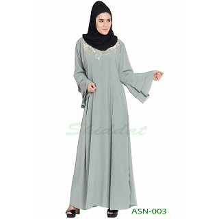 Flared abaya with embroidery work- Sea Green