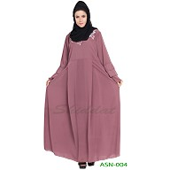 Flared abaya with embroidery work- Puce Pink