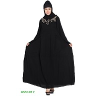 Flared abaya with embroidery work- Black