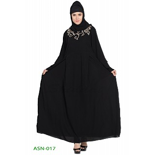 Flared abaya with embroidery work- Black