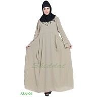Flared abaya with embroidery work- Light Grey