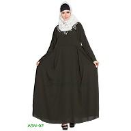 Flared abaya with embroidery work-  Dark Green