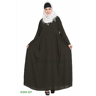 Flared abaya with embroidery work-  Dark Green