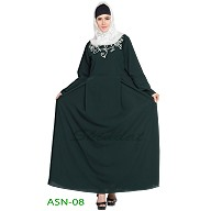 Flared abaya with embroidery work- Green
