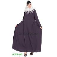 Flared abaya with embroidery work- Purple