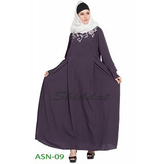 Flared abaya with embroidery work- Purple