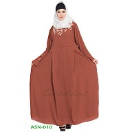 Flared abaya with embroidery work- Brown