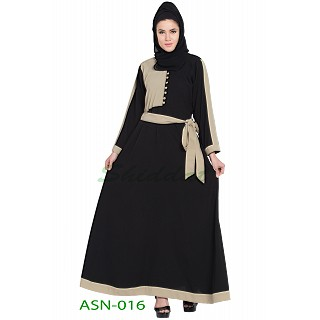A-line dual color abaya with a belt