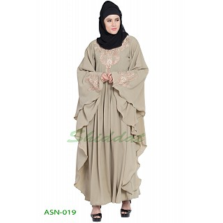 Kaftan abaya with embroidery work- Beige
