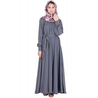 Flared nidha abaya- Grey colored