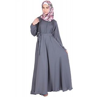 Grey large flare Wintex Abaya - Nidha fabric