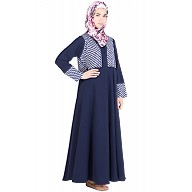 Abaya with printed top- Poly Crepe
