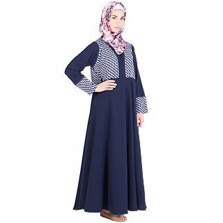Abaya with printed top- Poly Crepe