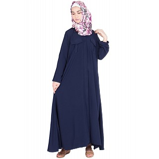 Shirt dress abaya - Navy blue