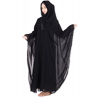 Kaftaan style abaya- Black double layered