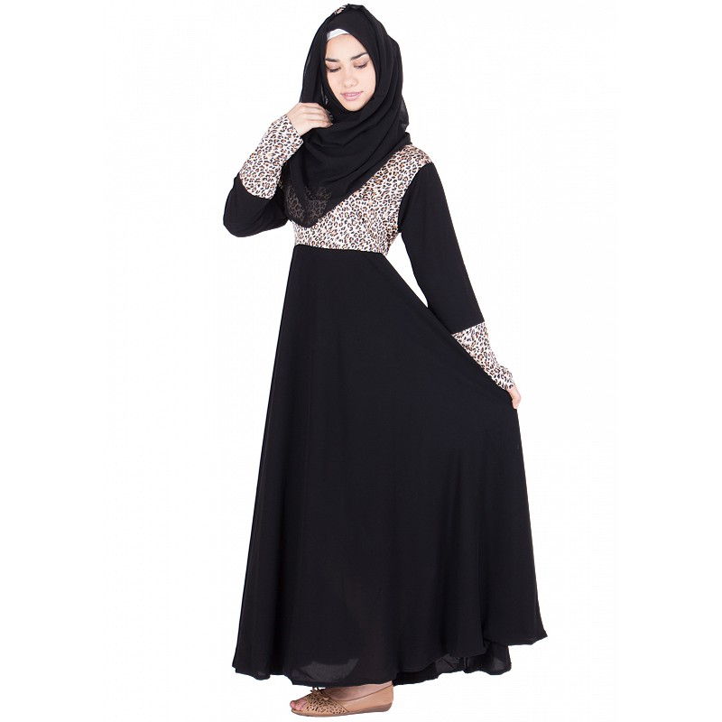 Abaya- Gown style in black colored | Crepe fabric | online shopping