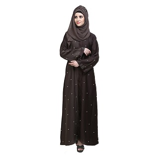 Islamic dress- Front open abaya with Pearl work