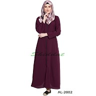 Front open zipper abaya- Wine