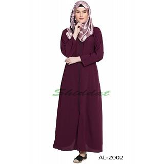 Front open zipper abaya- Wine