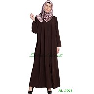 Front open zipper abaya- Coffee