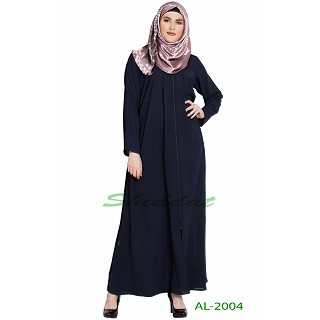Front open zipper abaya- Navy Blue