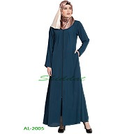 Front open zipper abaya- Teal Green