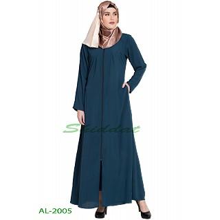 Front open zipper abaya- Teal Green
