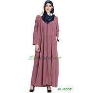 Front open zipper abaya- Puce Pink