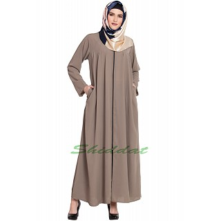 Front open zipper abaya- Beige