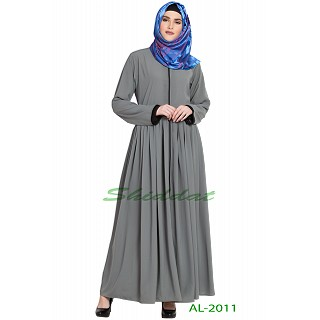 Front open pleated abaya- Grey