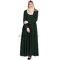 Front open pleated abaya- Dark Green