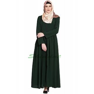 Front open pleated abaya- Dark Green