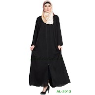 Front open zipper abaya- Black