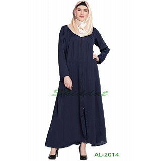 Front open zipper abaya- Navy Blue color