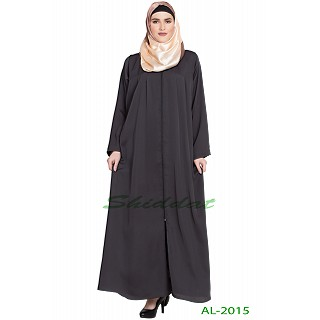 Front open zipper abaya- Dark Grey